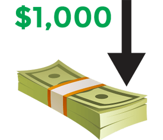 You deposit at least $1,000 into your 401(k)